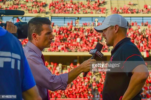 Houston Cougars head coach Tom Herman during pregame ESPN interview before the Tulsa Golden Hurricanes at Houston Cougars game at TDECU Stadium...