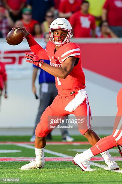 Houston Cougars quarterback Greg Ward Jr looks to pass during the Tulsa Golden Hurricanes at Houston Cougars game at TDECU Stadium Houston Texas