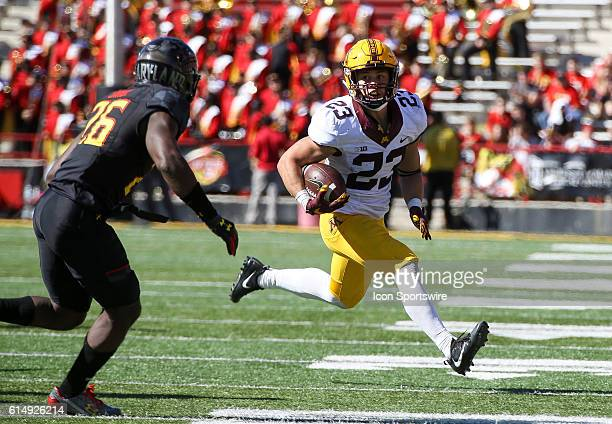 Minnesota Golden Gophers running back Shannon Brooks looks towards Maryland Terrapins defensive back Darnell Savage Jr during a Big 10 football game...