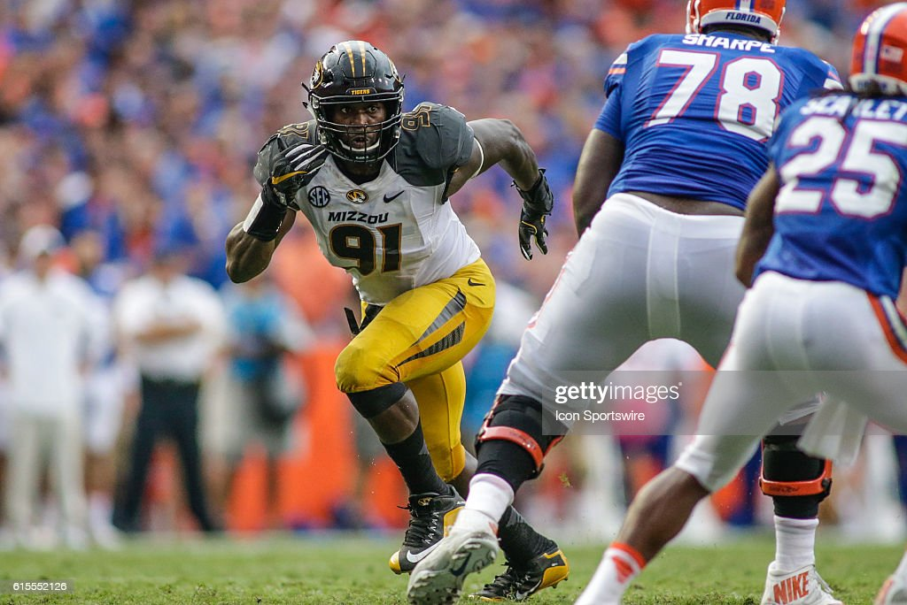Missouri Tigers defensive end Charles Harris (91) during the NCAA football game between the Florida Gators and the Missouri Tigers at Ben Hill Griffin Stadium at Florida Field in Gainesville, FL.