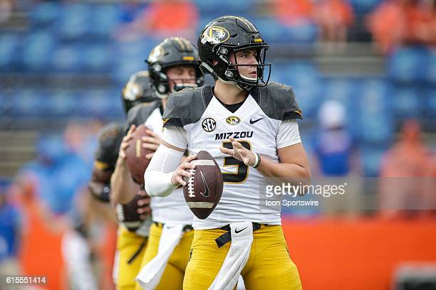 Missouri Tigers quarterback Drew Lock during the NCAA football game between the Florida Gators and the Missouri Tigers at Ben Hill Griffin Stadium at...