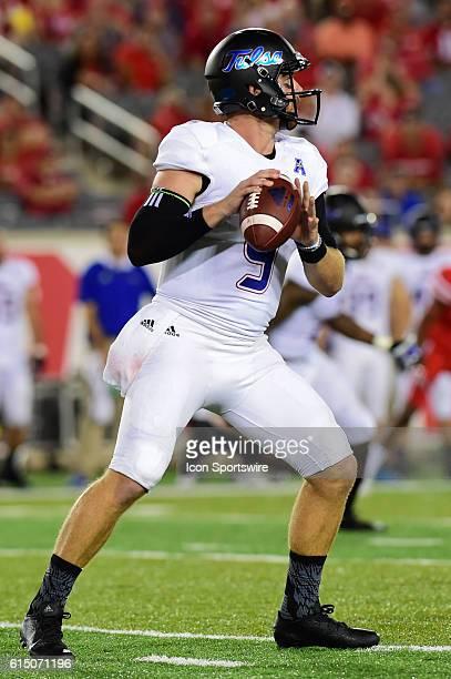 Tulsa Golden Hurricane quarterback Dane Evans looks to pass downfield during the Tulsa Golden Hurricanes at Houston Cougars game at TDECU Stadium...