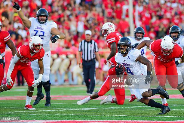 Tulsa Golden Hurricane running back D'Angelo Brewer gets to the second level during the Tulsa Golden Hurricanes at Houston Cougars game at TDECU...