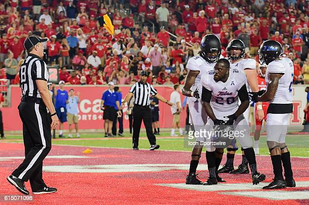 Tulsa Golden Hurricane running back James Flanders is flagged for unsportsmanlike conduct after scoring a late second half touchdown during the Tulsa...