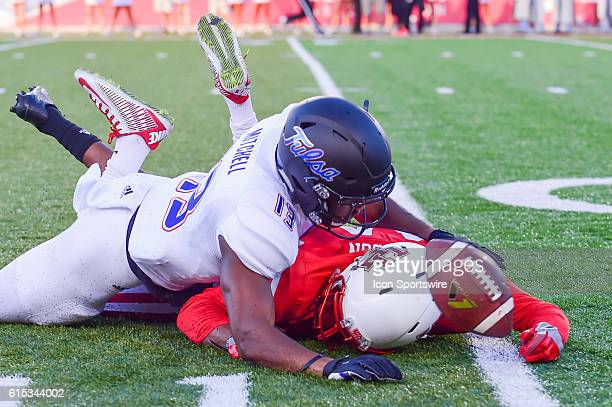 Tulsa Golden Hurricane safety Jordan Mitchell breaks up a pass intended for Houston Cougars wide receiver Isaiah Johnson during the Tulsa Golden...