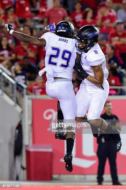 Tulsa Golden Hurricane wide receiver Justin Hobbs Tulsa Golden Hurricane running back Keenen Johnson celebrate Hobbs' late second half touchdown...