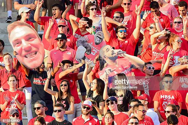 Wild Cougar fans during the Tulsa Golden Hurricanes at Houston Cougars game at TDECU Stadium Houston Texas