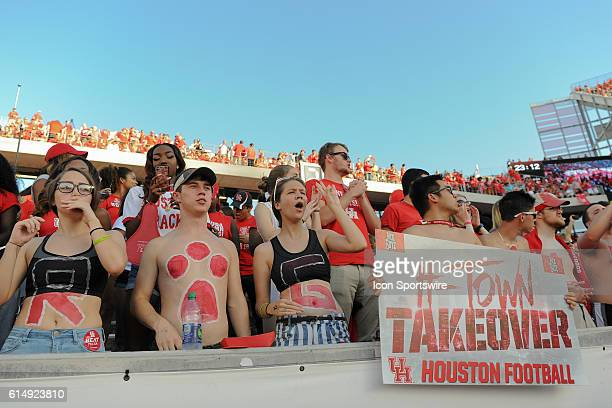 Wild Houston Cougar fans during the Tulsa Golden Hurricanes at Houston Cougars game at TDECU Stadium, Houston, Texas.