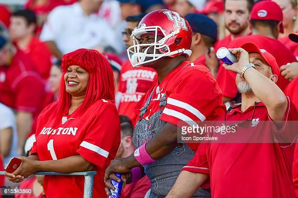 Wild Houston fans during the Tulsa Golden Hurricanes at Houston Cougars game at TDECU Stadium, Houston, Texas.
