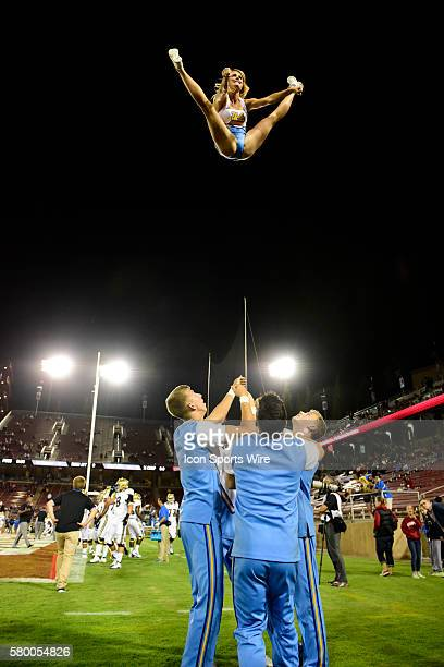 UCLA Cheerleaders during the UCLA Bruins game versus the Stanford Cardinal at Stanford Stadium in Palo Alto CA