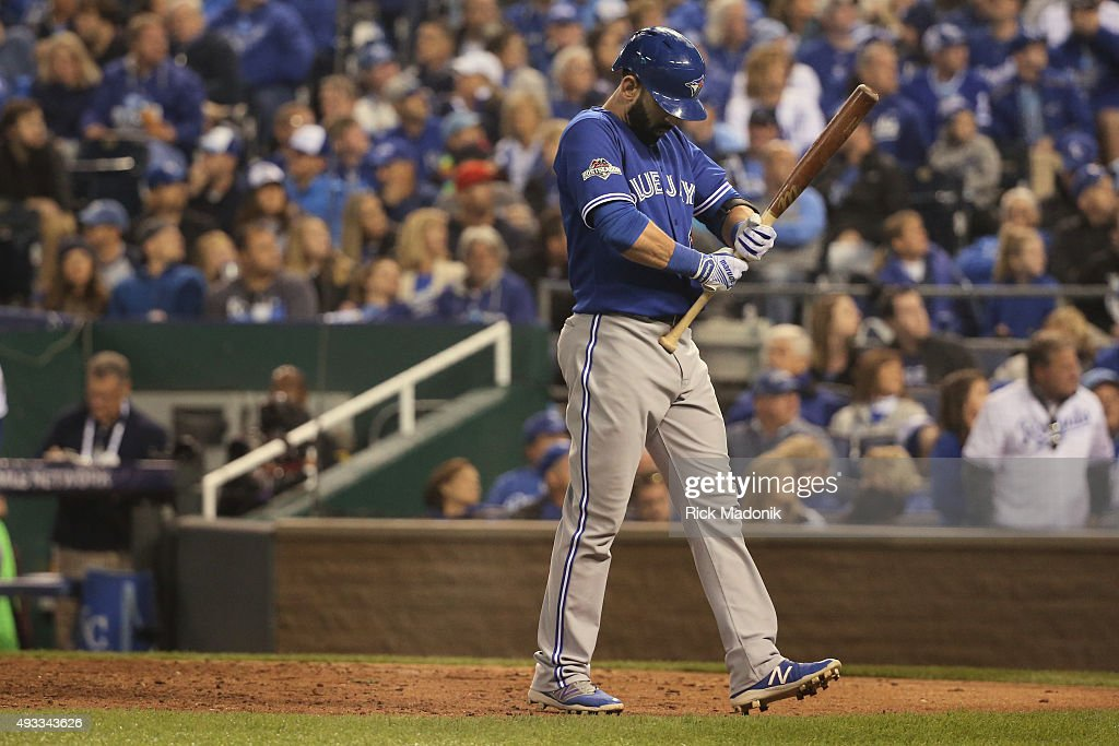 October 16, 2015 - Blue Jay slugger Jose Bautista works on the grip of his bat between pitches during an at bat. Toronto Blue Jays V Kansas City Royals in Games 1 of the American League Championship Series in MLB action at Kauffman Field. Jays lose the opener 5-0. Toronto Star/Rick Madonik