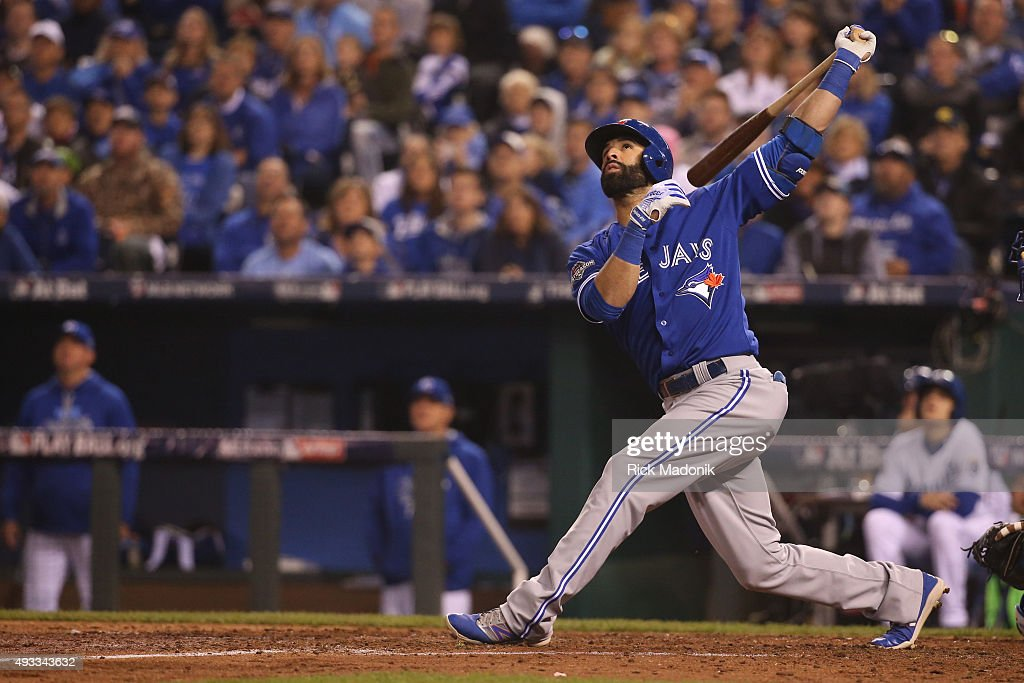 October 16, 2015 - Jose Bautista watches his ball sail foul after making good contact. Toronto Blue Jays V Kansas City Royals in Games 1 of the American League Championship Series in MLB action at Kauffman Field. Jays lose the opener 5-0. Toronto Star/Rick Madonik
