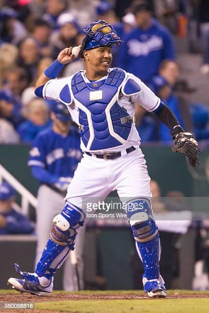 Kansas City Royals catcher Salvador Perez during the MLB ALCS game 1 between the Toronto Blue Jays and the Kansas City Royals in Kansas City Missouri...