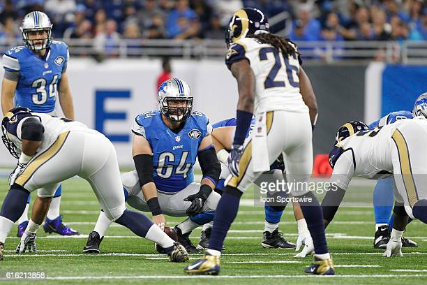 Detroit Lions center Travis Swanson waits to snap the ball during game action between the Los Angeles Rams and the Detroit Lions during a regular...