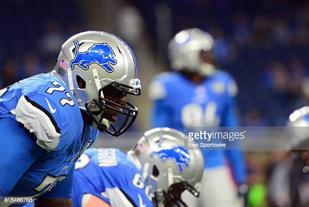 Detroit Lions Offensive Tackle Cornelius Lucas lines up during pregame warmups for the Detroit Lions game versus the Los Angeles Rams at Ford Field...