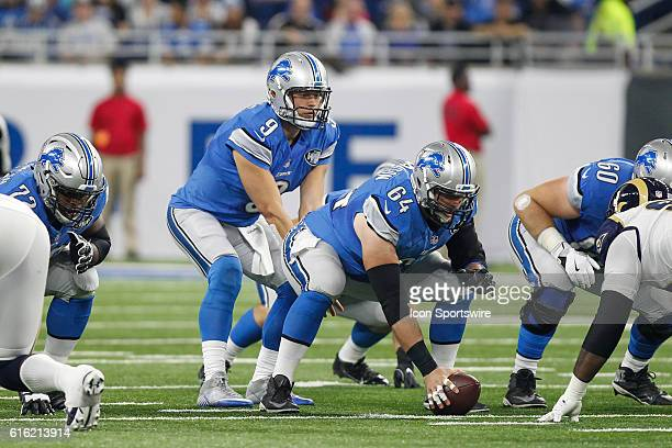 Detroit Lions quarterback Matthew Stafford waits for the snap of the ball by Detroit Lions center Travis Swanson during game action between the Los...