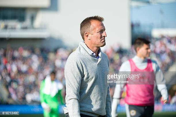 Orlando City SC Head Coach Jason Kreis walks to the locker room at half during the game between Orlando City SC and the Philadelphia Union at Talen...