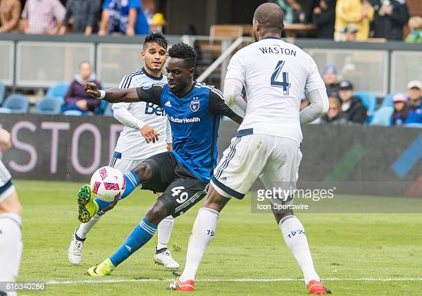 San Jose Earthquakes Midfielder Simon Dawkins controls the ball during the Major League Soccer game between the Vancouver Whitecaps and the San Jose...