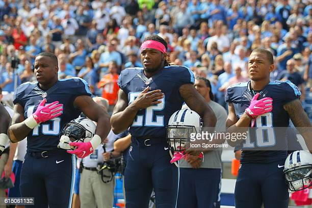 Tennessee Titans Fullback Jalston Fowler Tennessee Titans Running Back Derrick Henry and Tennessee Titans Wide Receiver Rishard Matthews place their...
