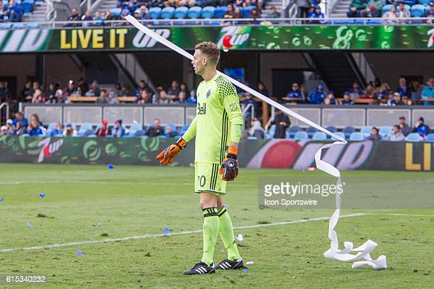 Vancouver Whitecaps goalkeeper Paolo Tornaghi is almost hit by a streamer from the stands during the Major League Soccer game between the Vancouver...