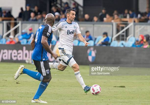Vancouver Whitecaps player Andrew Jacobson brings the ball down the field during the Major League Soccer game between the Vancouver Whitecaps and the...