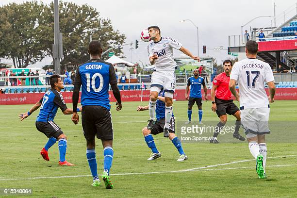 Vancouver Whitecaps player Matias Laba heads the ball during the Major League Soccer game between the Vancouver Whitecaps and the San Jose...