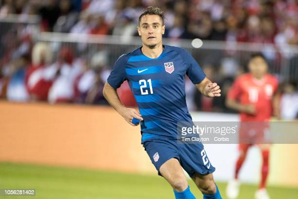Aaron Long of the United States in action during the United States Vs Peru International Friendly soccer match at Pratt Whitney Stadium Rentschler...