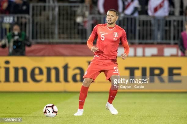 Alexander Callens of Peru in action during the United States Vs Peru International Friendly soccer match at Pratt Whitney Stadium Rentschler Field on...