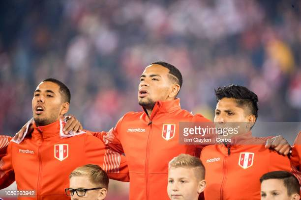 Alexander Callens of Peru sings the National Anthem with team mates before the United States Vs Peru International Friendly soccer match at Pratt...
