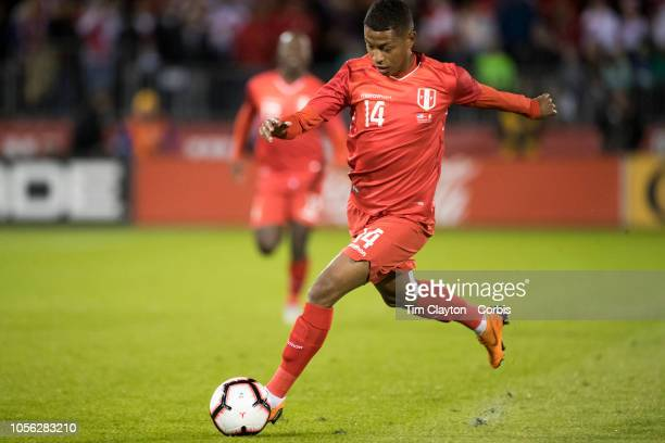 Andy Polo of Peru in action during the United States Vs Peru International Friendly soccer match at Pratt Whitney Stadium Rentschler Field on October...