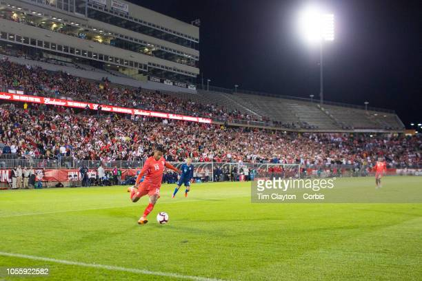 Andy Polo of Peru puts in a cross during the United States Vs Peru International Friendly soccer match at Pratt Whitney Stadium Rentschler Field on...