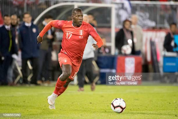 Luis Advincula of Peru in action during the United States Vs Peru International Friendly soccer match at Pratt Whitney Stadium Rentschler Field on...