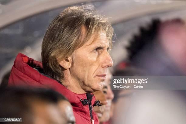 Ricardo Gareca Manager of Peru on the sideline during the United States Vs Peru International Friendly soccer match at Pratt Whitney Stadium...