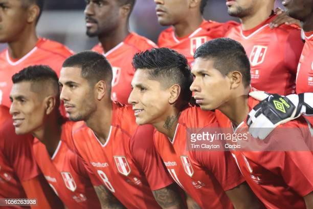 Sergio Pena of Peru Raul Ruidiaz of Peru and Luis Advincula of Peru with teammates during the team photograph before the United States Vs Peru...