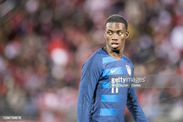 Tim Weah of the United States during the United States Vs Peru International Friendly soccer match at Pratt Whitney Stadium Rentschler Field on...