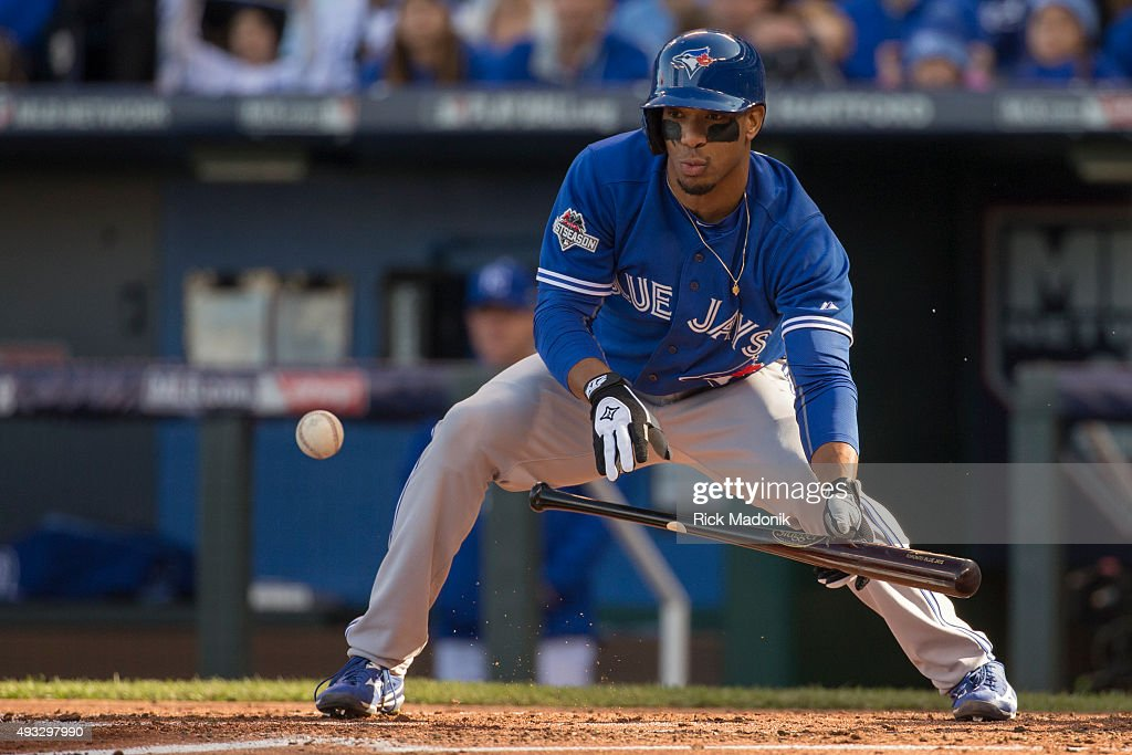 October 17, 2015 - Blue Jays Ben Revere looks to lay down a bunt, but the ball goes foul. Toronto Blue Jays V Kansas City Royals in Game 2 of the American League Championship Series in MLB action at Kauffman Field. Jays lose Game 2 6-3 and go down 0-2 in the series. Toronto Star/Rick Madonik