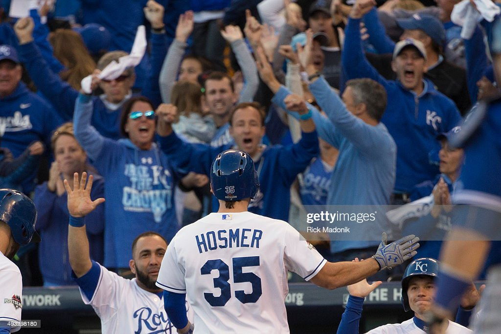 October 17, 2015 - Kansas City fans celebrate as Eric Hosmer comes to the dug out after scoring. Toronto Blue Jays V Kansas City Royals in Game 2 of the American League Championship Series in MLB action at Kauffman Field. Jays lose Game 2 6-3 and go down 0-2 in the series. Toronto Star/Rick Madonik