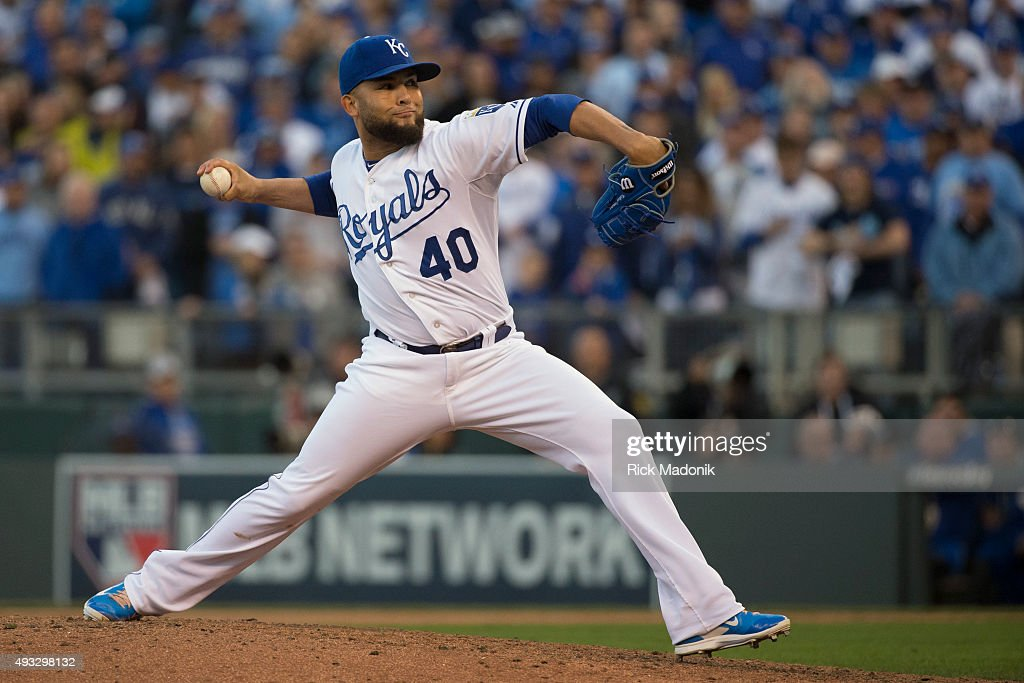 October 17, 2015 - Kansas City Royals relief pitcher Kelvin Herrera (40). Toronto Blue Jays V Kansas City Royals in Game 2 of the American League Championship Series in MLB action at Kauffman Field. Jays lose Game 2 6-3 and go down 0-2 in the series. Toronto Star/Rick Madonik