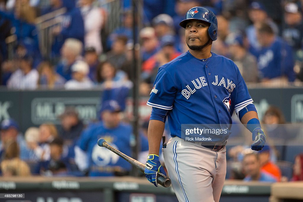 October 17, 2015 - The Jays Edwin Encarnancion looks to the outfield after he strikes out. Toronto Blue Jays V Kansas City Royals in Game 2 of the American League Championship Series in MLB action at Kauffman Field. Jays lose Game 2 6-3 and go down 0-2 in the series. Toronto Star/Rick Madonik