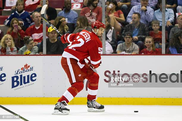 Detroit Red Wings defenseman Jonathan Ericsson of Sweden fires a slapshot on goal during the regular season home opener NHL hockey game between the...