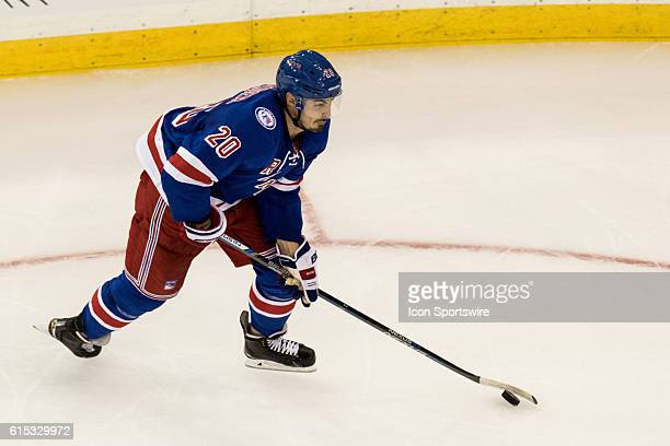 New York Rangers Left Wing Chris Kreider looks towards the net and puts the NY Rangers up 31 during the second period of a NHL game between the San...