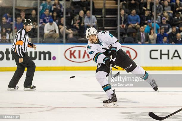 San Jose Sharks Defenseman Justin Braun sends the puck down into the Rangers zone during the third period of a NHL game between the San Jose Sharks...