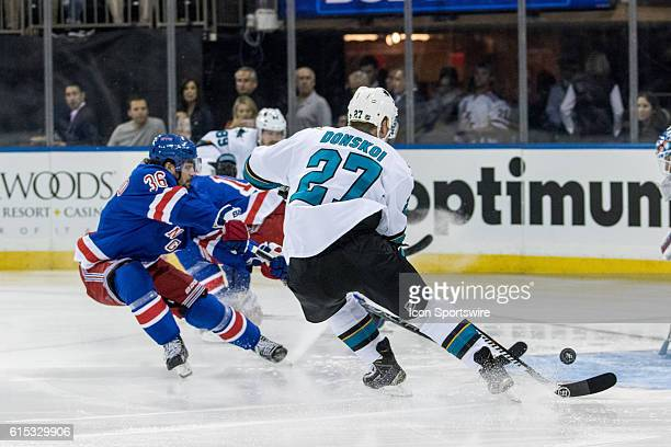 San Jose Sharks Right Wing Joonas Donskoi takes the puck towards the Rangers net during the first period of a NHL game between the San Jose Sharks...