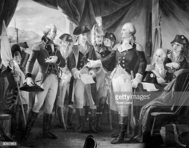 American General and statesman George Washington declining to accept terms, after the siege of Yorktown, from British General Charles Cornwallis, 1st...