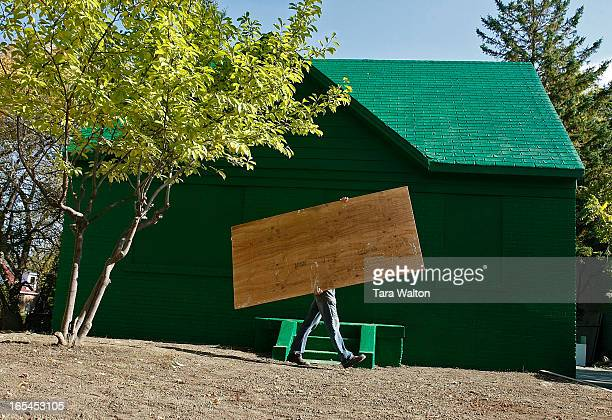 October 18 2009LEONA DRIVE PROJECT19 Leona Drive which has been transformed by artist An Te Liu into an oversized green Monopoly board game house The...