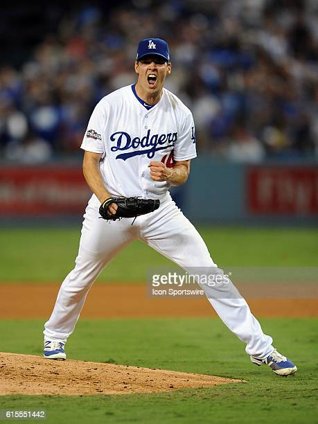 Los Angeles Dodgers pitcher Rich Hill reacts after recording the third out of the sixth inning against the Chicago Cubs during game three of the...