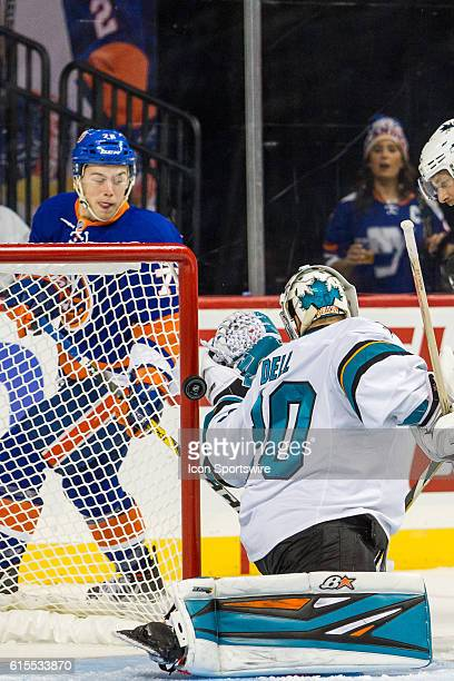 New York Islanders Left Wing Anthony Beauvillier scores his first NHL goal during the second period of a NHL game between the San Jose Sharks and the...