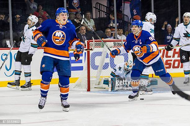 New York Islanders Left Wing Anthony Beauvillier reacts after scoring his first career NHL goal during the second period of a NHL game between the...