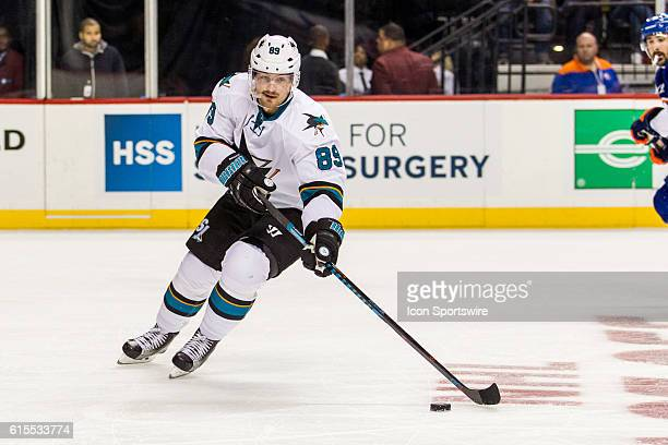 San Jose Sharks Left Wing Mikkel Boedker works into the Islanders zone during the first period of a NHL game between the San Jose Sharks and the New...