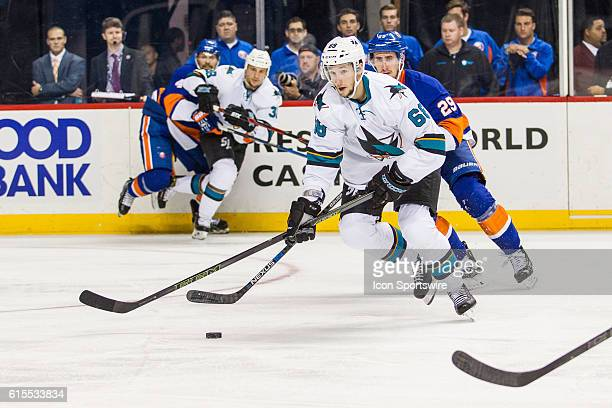 San Jose Sharks Right Wing Melker Karlsson works into the Islanders zone during the first period of a NHL game between the San Jose Sharks and the...